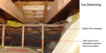 Image shows leakage and persistent wetness of the decking.  Water has entered insulation and the gyproc underneath.